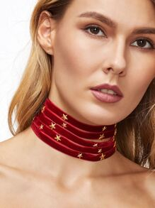 Burgundy Layered Metal Star Wide Choker Necklace