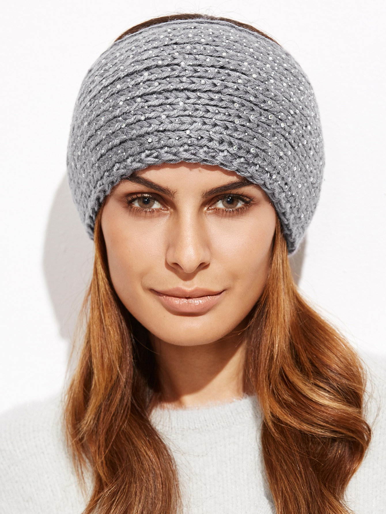 Grey Rhinestone Studded Textured Knit HeadbandGrey Rhinestone Studded Textured Knit Headband<br><br>color: Grey<br>size: None