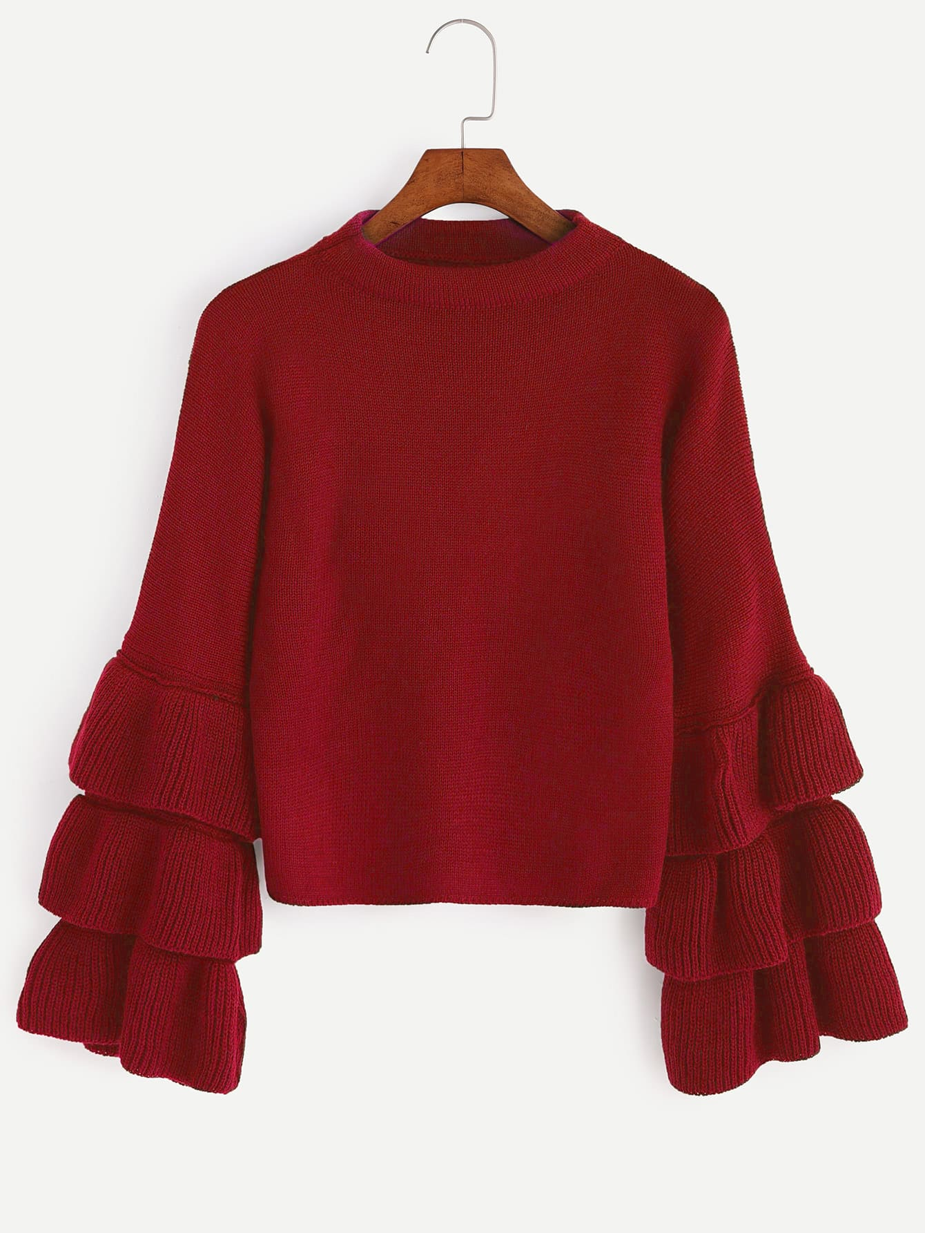 Red Layered Bell Sleeve SweaterRed Layered Bell Sleeve Sweater<br><br>color: Red<br>size: one-size