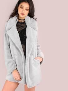 Double Breasted Soft Faux Fur Coat GREY