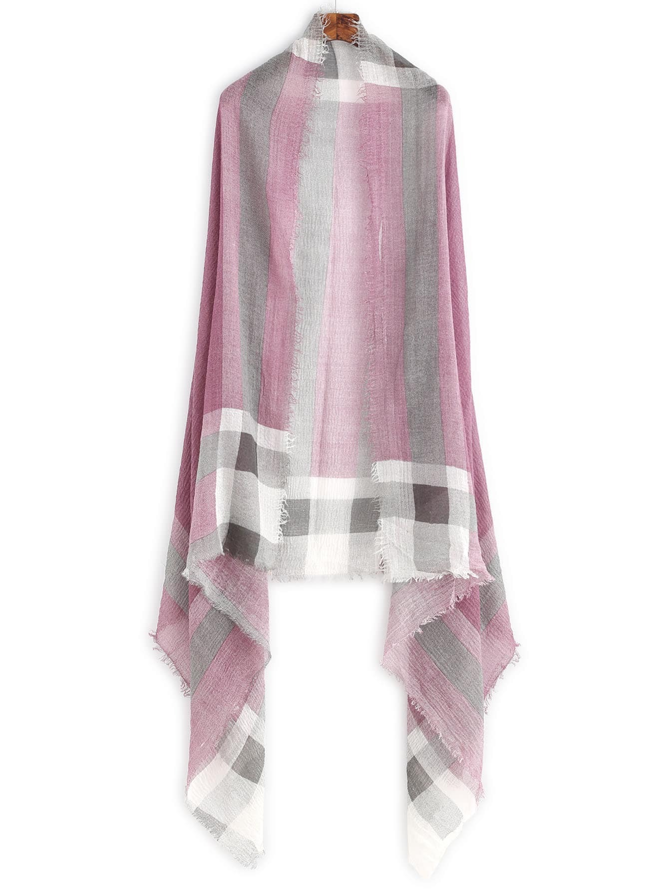 Purple Plaid Raw Edge Shawl Scarf scarf161103002