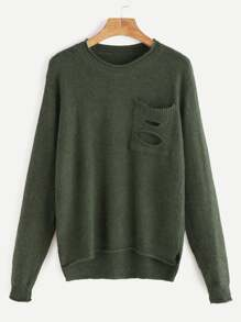 Army Green Ripped Pocket Slit Side High Low Sweater