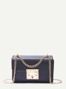 Black Faux Leather Boxy Shoulder Bag With Golden Chain
