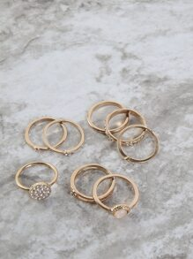 Metallic Faux Stone Ring Set GOLD