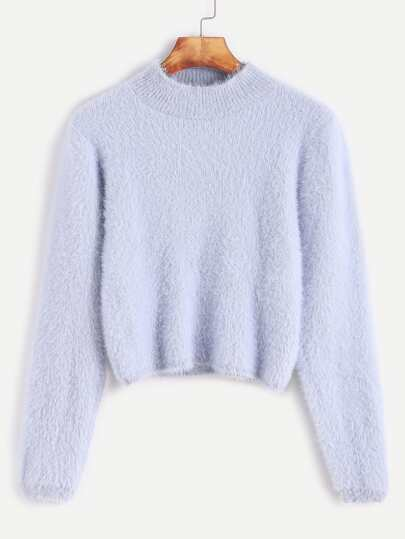 Pale Blue Crew Neck Crop Fuzzy Sweater