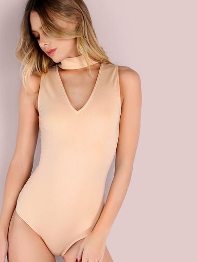 Cutout Choker Sleeveless Bodysuit