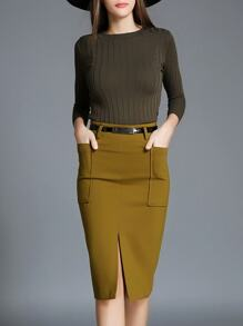 Khaki Knit Top With Belted Split Skirt