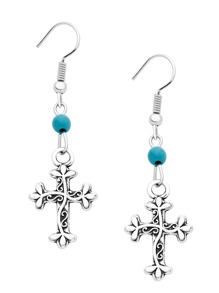 Silver Plated Carved Cross Drop Earrings
