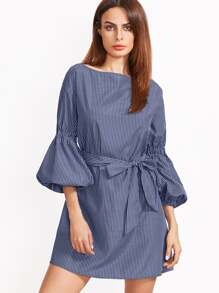 Blue Striped Lantern Sleeve Self Belt Dress