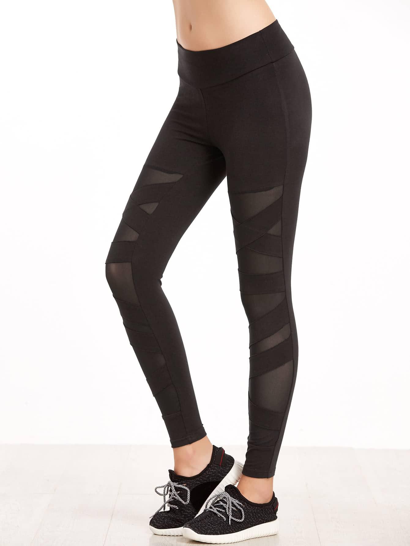 Black Crisscross Mesh Panel Leggings leggings161128702