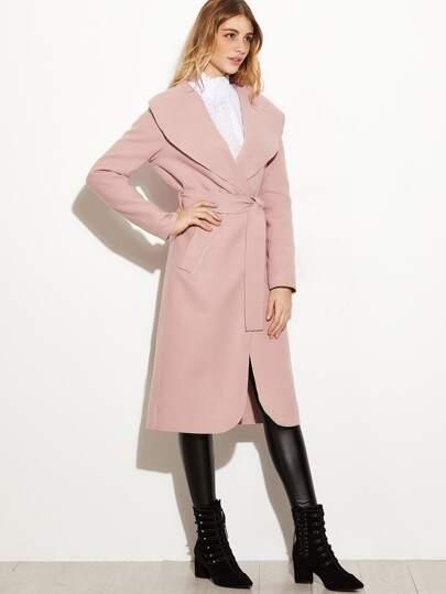 Pink Oversized Shawl Collar Wrap Coat -SheIn(Sheinside)