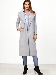 Grey Oversized Lapel Open Front Long Coat