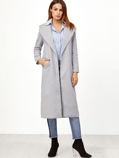 Grey Oversized Lapel Open Front Long Coat