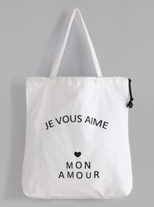 White Slogan Print Drawstring Plain Canvas Tote Bag
