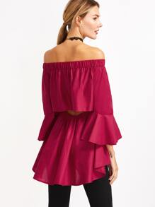 Off The Shoulder Open Back High Low Top