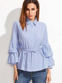 Blue And White Striped Layered Bell Sleeve Drawstring Waist Blouse