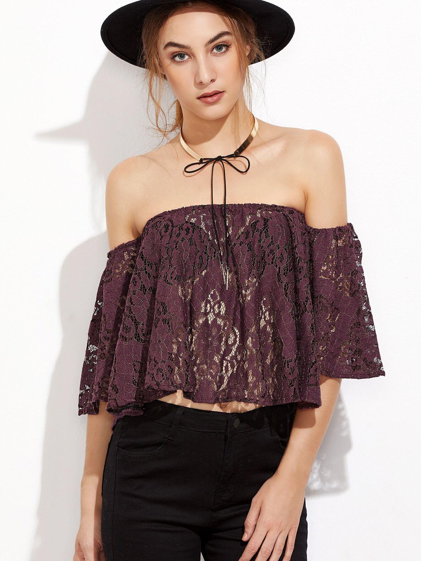 Purple Off The Shoulder Lace Top blouse161101102