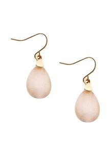 White Opal Water Drop Dangle Earrings