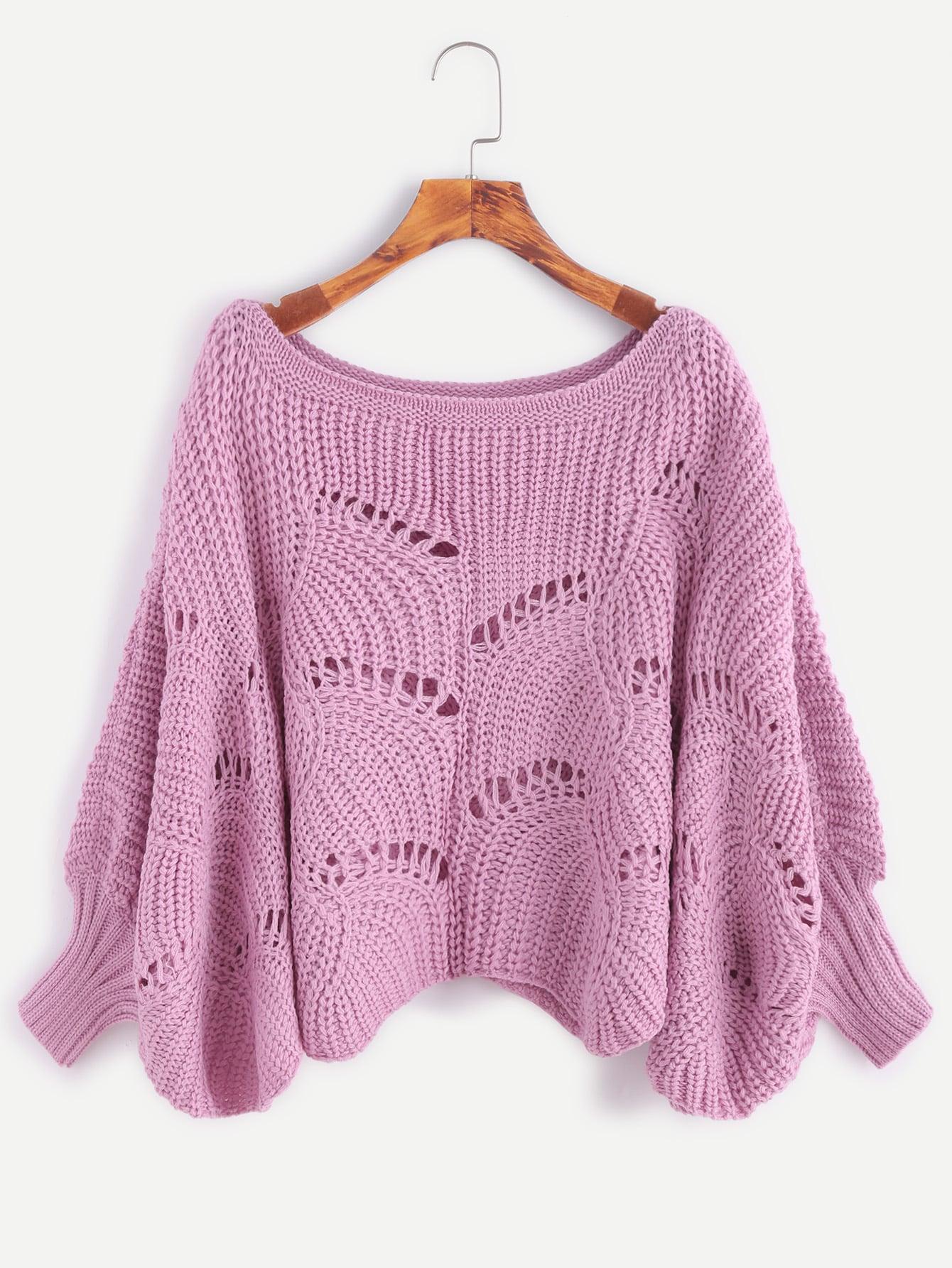 Pink Lantern Sleeve Hollow SweaterPink Lantern Sleeve Hollow Sweater<br><br>color: Pink<br>size: one-size