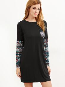 Black Tribal Print Pocket And Sleeve Tee Dress