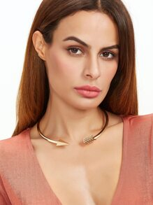 Golden Arrow-shaped Open Cuff Choker Necklace
