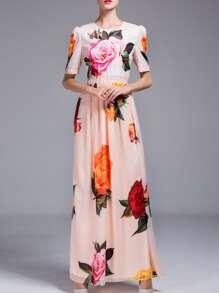 Apricot Rose Print Maxi Dress