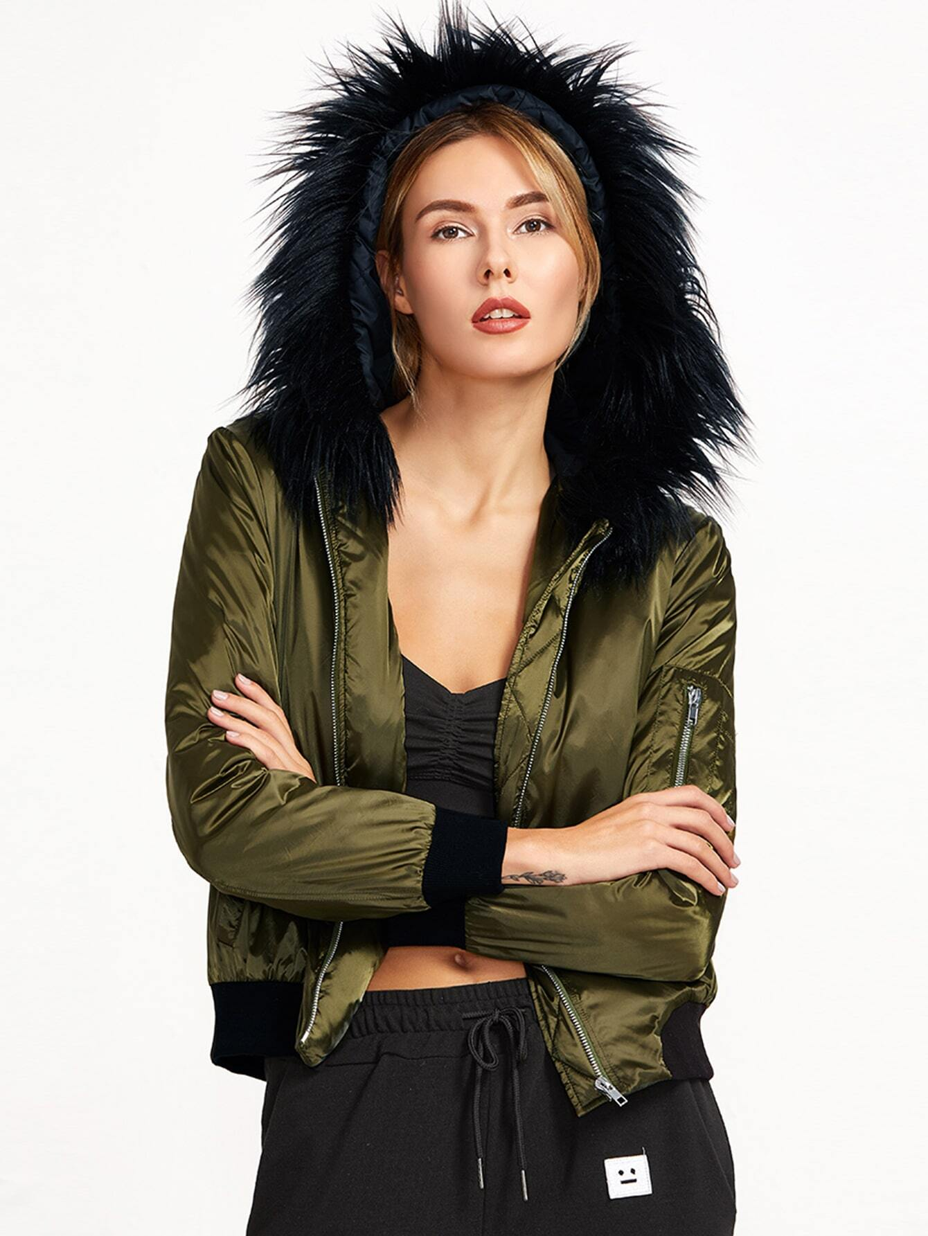 Olive Green Silky Bomber Jacket With Faux Fur Trim Hood striped trim fluffy panel bomber jacket