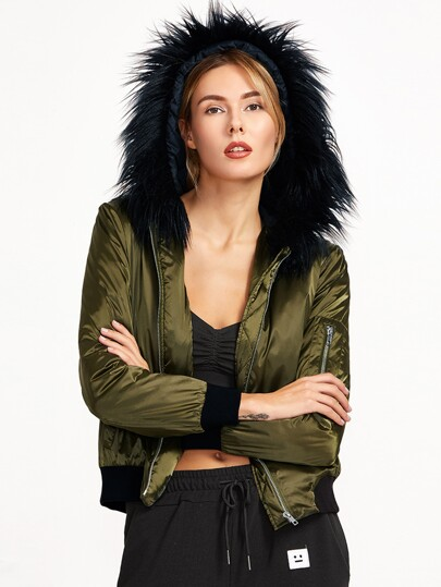 Olive Green Silky Bomber Jacket With Faux Fur Trim Hood