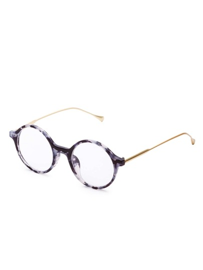 Tortoise Frame Clear Lens Round Sunglasses