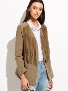 Модный замшевый пиджак с бахромой