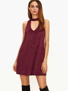 Burgundy Suede Keyhole Halter Neck Swing Dress