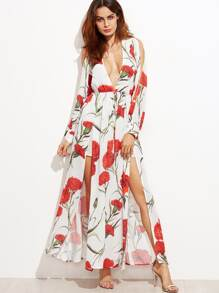 White Flower Print Plunge Neck Split Dress