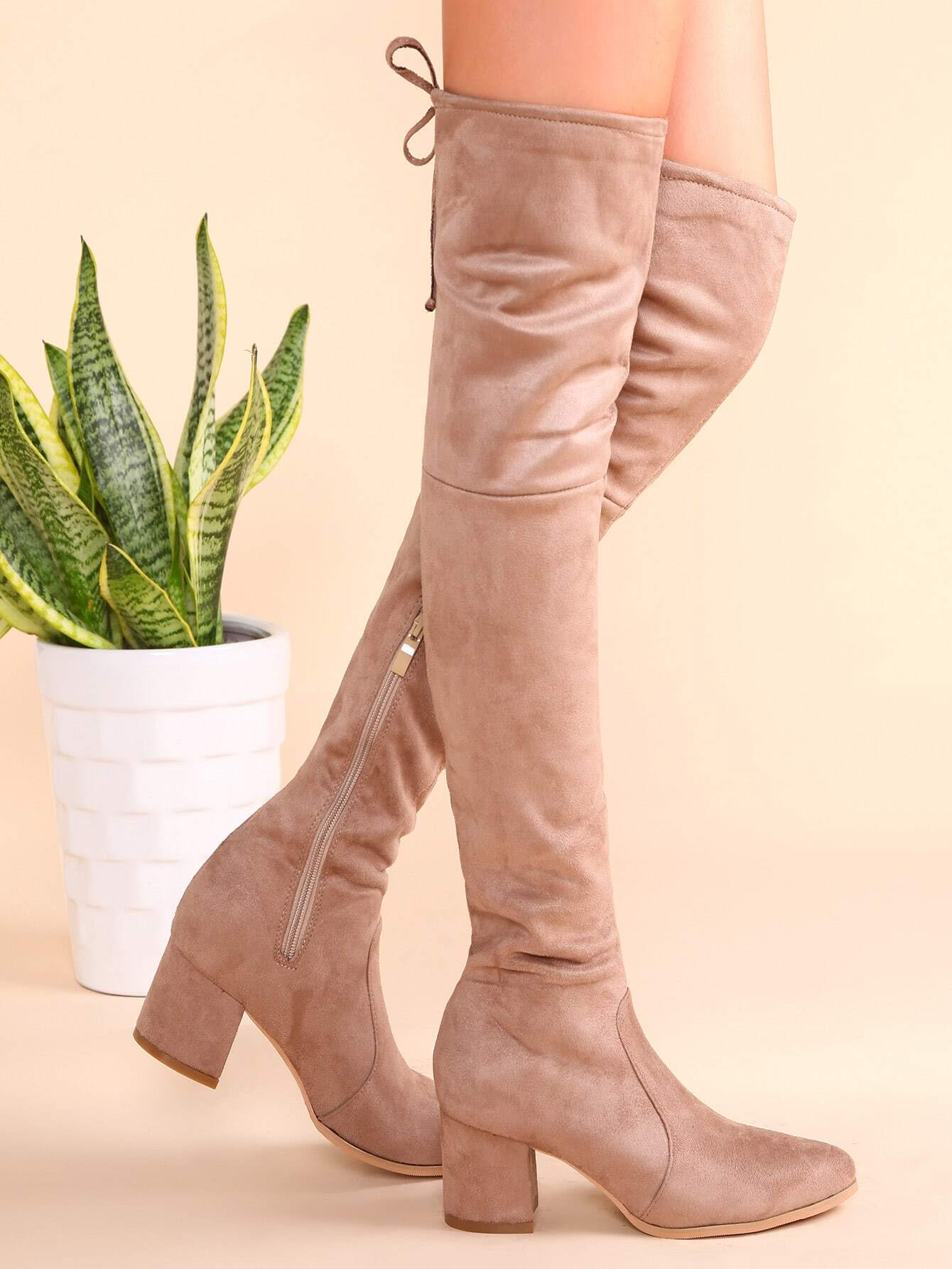 Apricot Point Toe Tie Back Side Zipper Thigh High Suede Boots shoes161110808