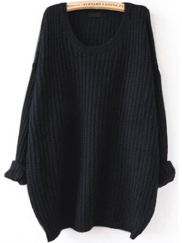 Black Drop Shoulder Textured Sweater, null