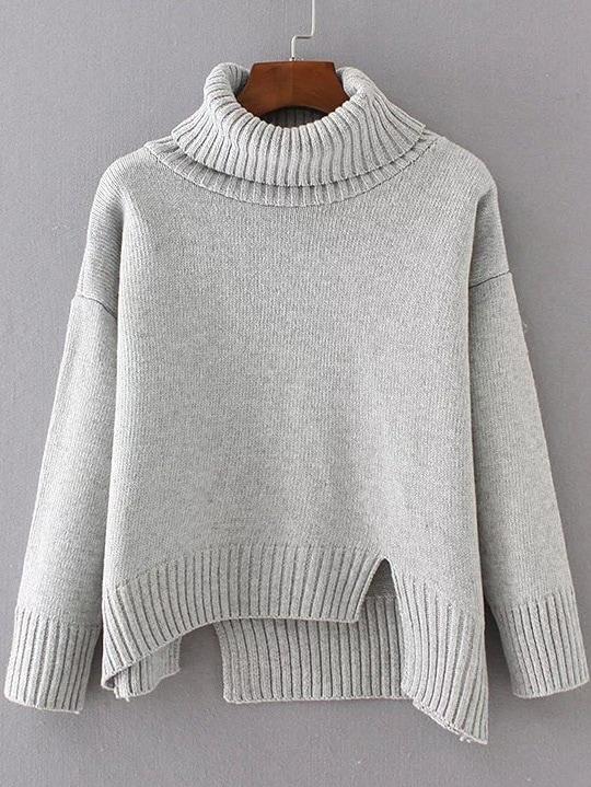 Grey Ribbed Trim Turtleneck Asymmetrical Sweater sweater161117205