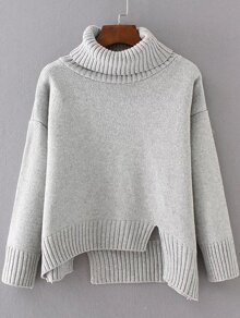 Grey Ribbed Trim Turtleneck Asymmetrical Sweater