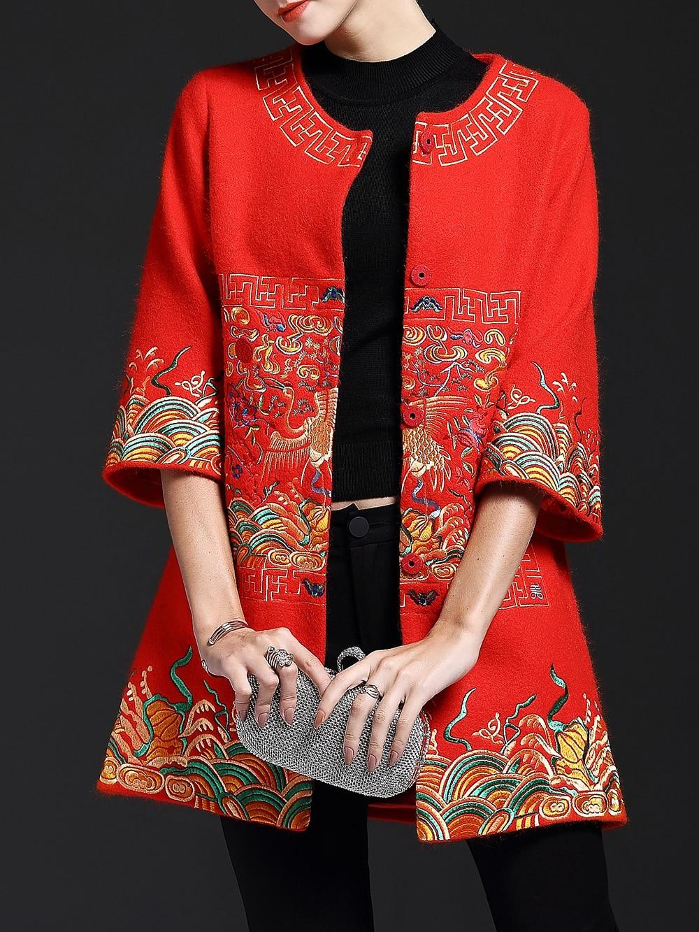 Red Vintage Embroidered Pockets Coat coat161117621