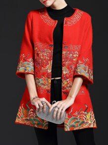 Red Vintage Embroidered Pockets Coat