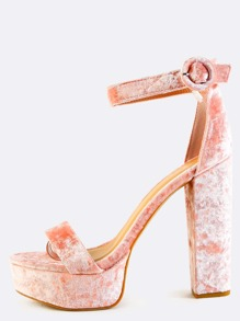 Crushed Velvet Platform Heels BLUSH
