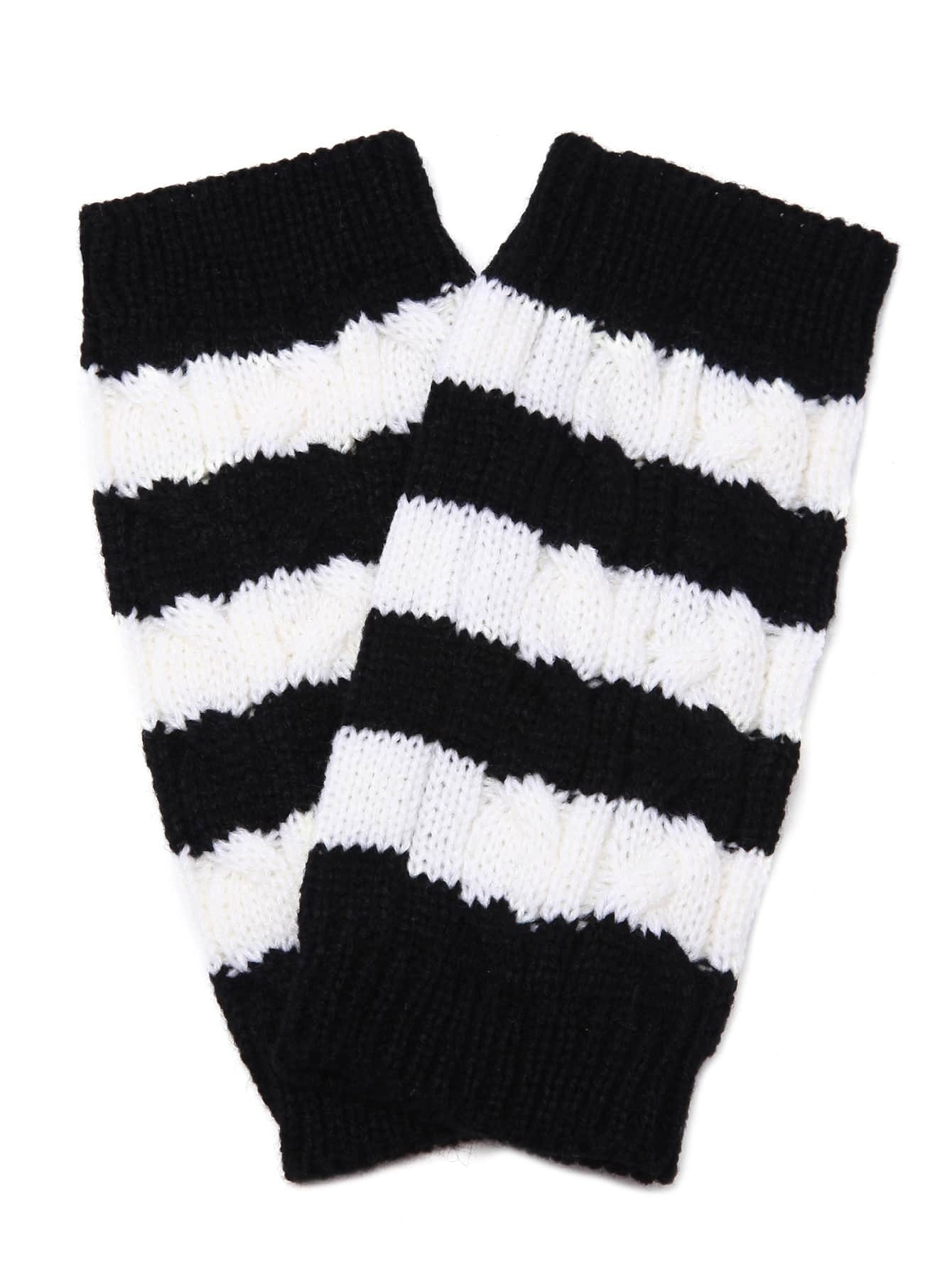 Фото Black And White Stripe Knit Thermal Long Fingerless Gloves. Купить с доставкой