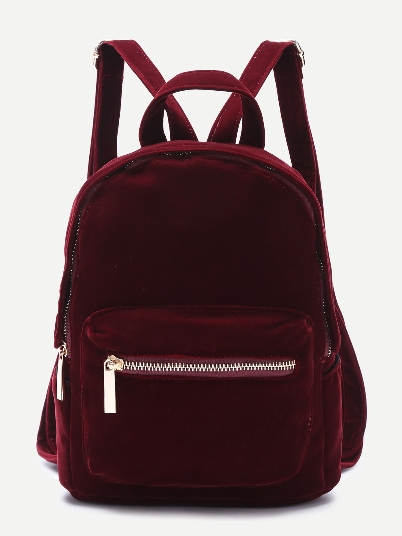 burgundy pocket front double handle velvet backpack shein sheinside. Black Bedroom Furniture Sets. Home Design Ideas