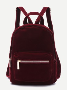 Burgundy Pocket Front Double Handle Velvet Backpack