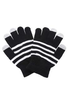 Gants tricoté à rayure - noir et blanc