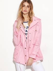Pink Hidden Zip Hooded Drawstring Utility Jacket