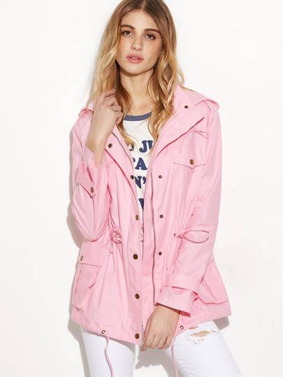 Pink Hidden Zip Hooded Drawstring Utility Jacket