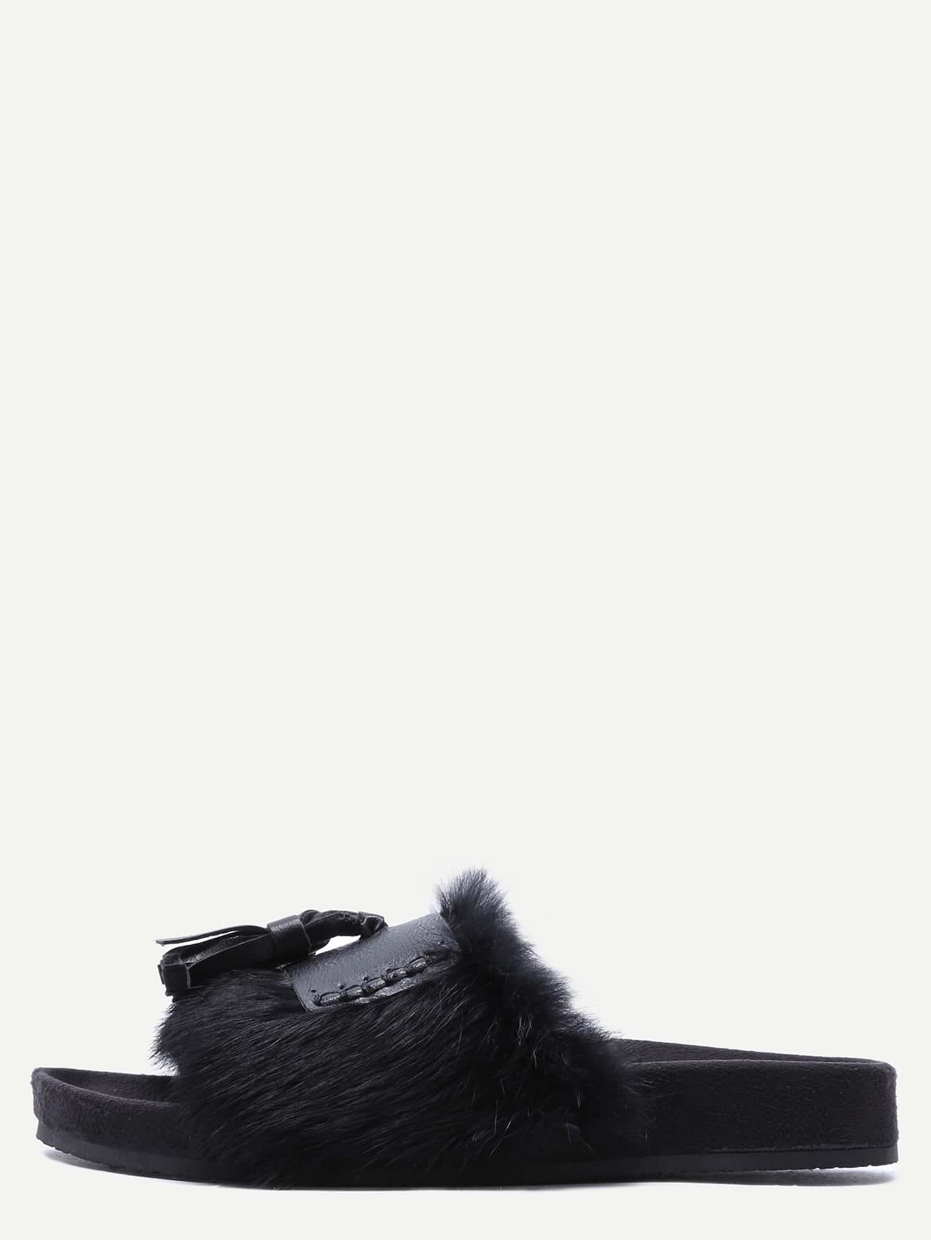 Black Faux Fur Peep Toe Tassel Casual Sandals.