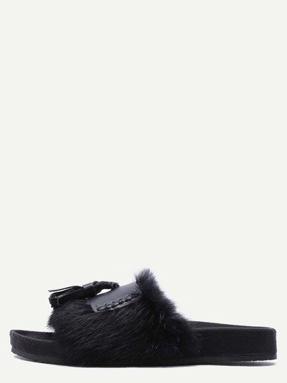 Black Peep Toe Faux Fur Tassel Trim Soft Sole Slippers
