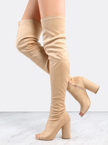 Faux Suede Peep Toe Thigh Boots NUDE
