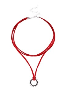 Red Layered Vintage Hollow Out Pendant Choker Necklace