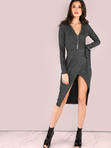 Black Faux Suede Surplice Wrap Dress
